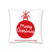 "18"" Christmas Bauble Canvas Square Photo Cushion"