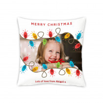 "18"" Christmas Lights Canvas Square Photo Cushion"