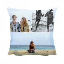 """18"""" 3 Image Collage Faux Suede Square Cushion"""