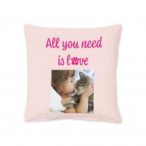 """18"""" All You Need Is Love Pet Square Photo Cushion"""