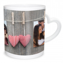 Double Image Heart Handle Mug